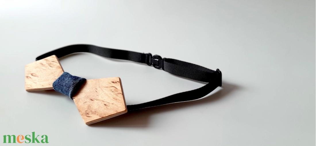 Vagány csokornyakkendő fából, farmer anyaggal - ruha & divat - férfi ruha - nyakkendő - Meska.hu