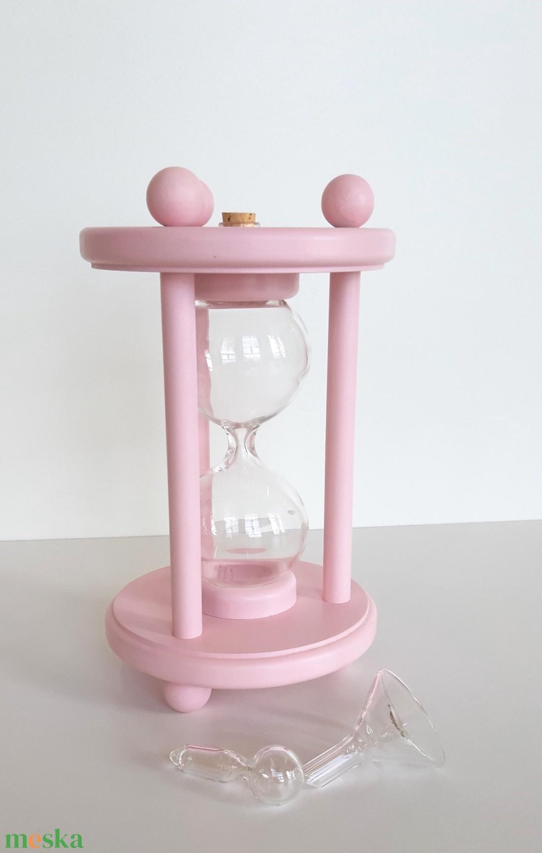 Rózsaszirom színű homokóra bükkfából, esküvőre - esküvő - emlék & ajándék - nászajándék - Meska.hu