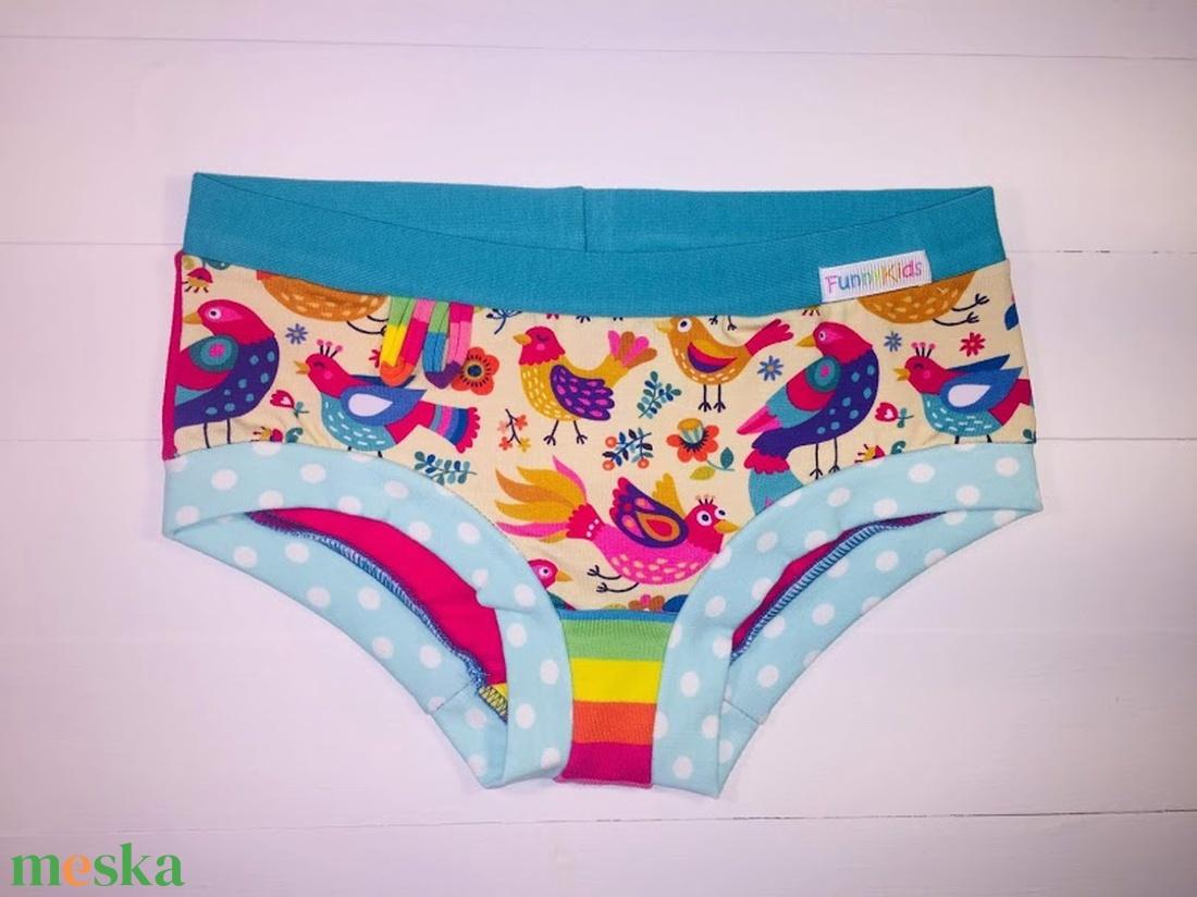 HEIDI színes-szivárványos madárka mintás kislány bugyi 116-os - ruha & divat - babaruha & gyerekruha - Meska.hu