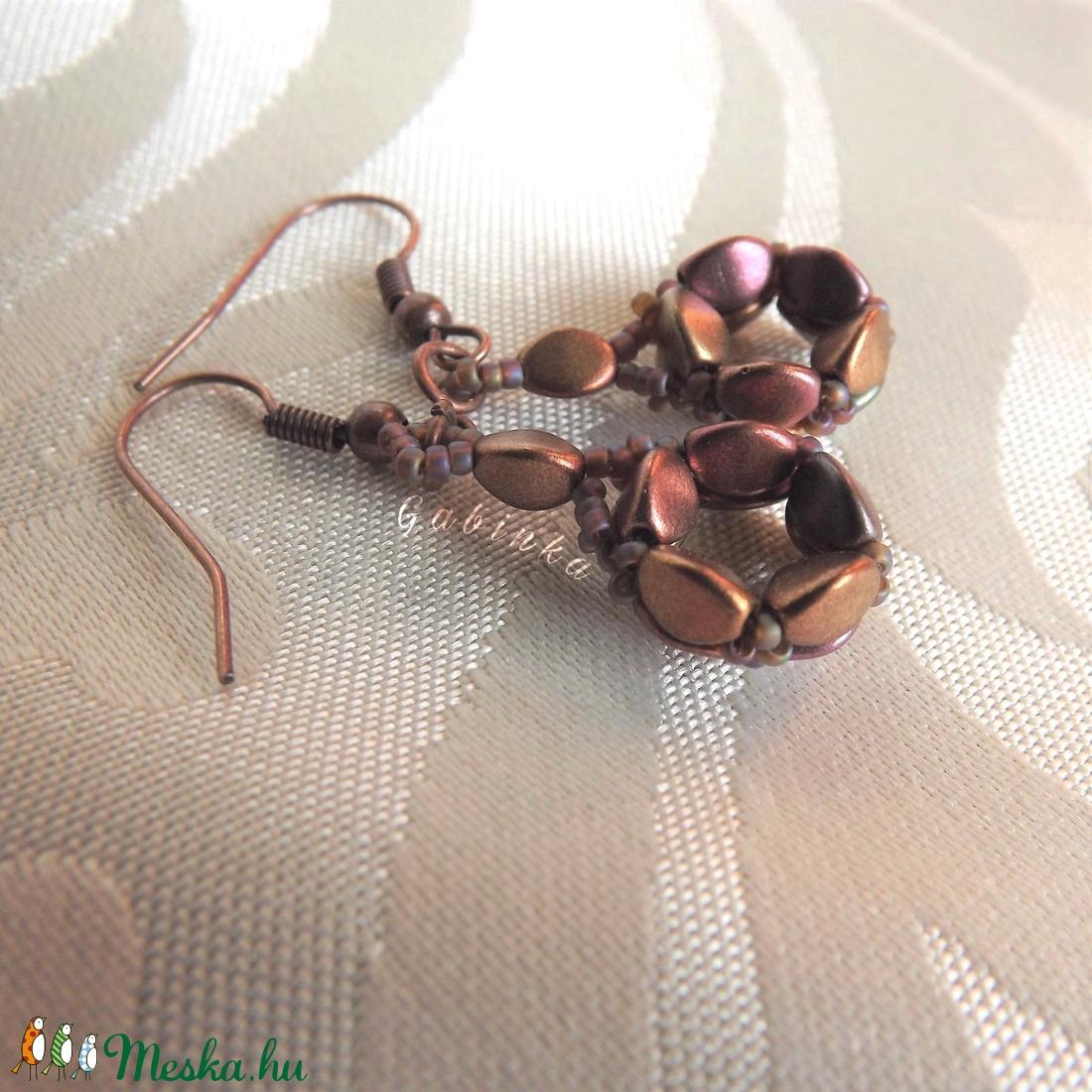 Lilás rosegold fülbevaló - ékszer - fülbevaló - lógó fülbevaló - Meska.hu