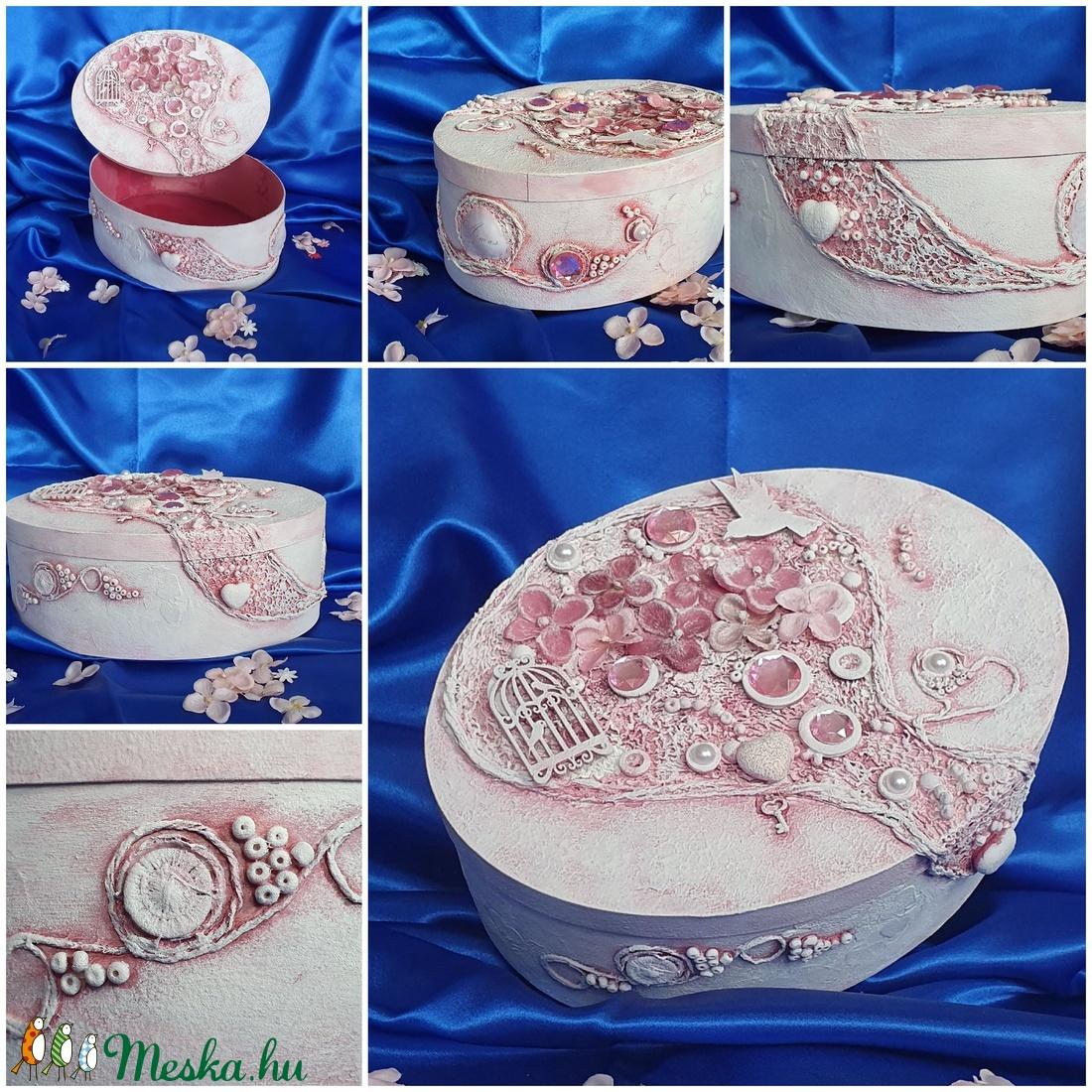 Rózsaszín ovális doboz (Gabinori) - Meska.hu