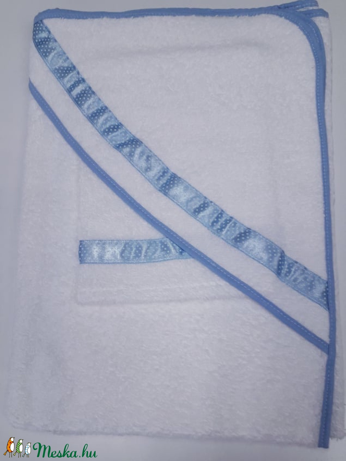 Kapucnis fürdőlepedő+kesztyű, fehér flottir - kék szegéllyel - 80 x 80 cm  - otthon & lakás - fürdőszoba - törölköző - Meska.hu