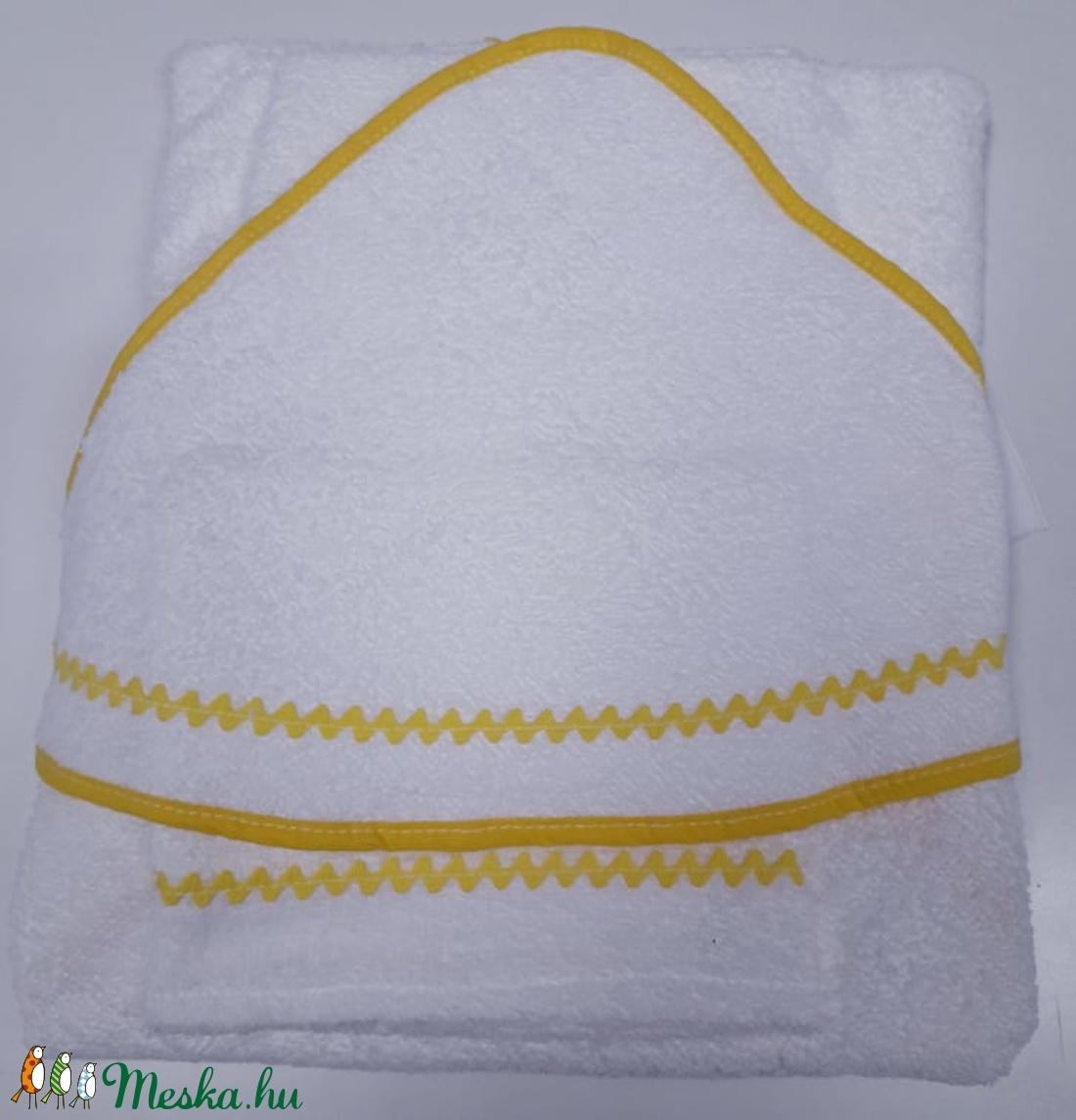 Kapucnis fürdőlepedő+kesztyű, fehér flottir - sárga szegéllyel - 80 x 80 cm  - Meska.hu