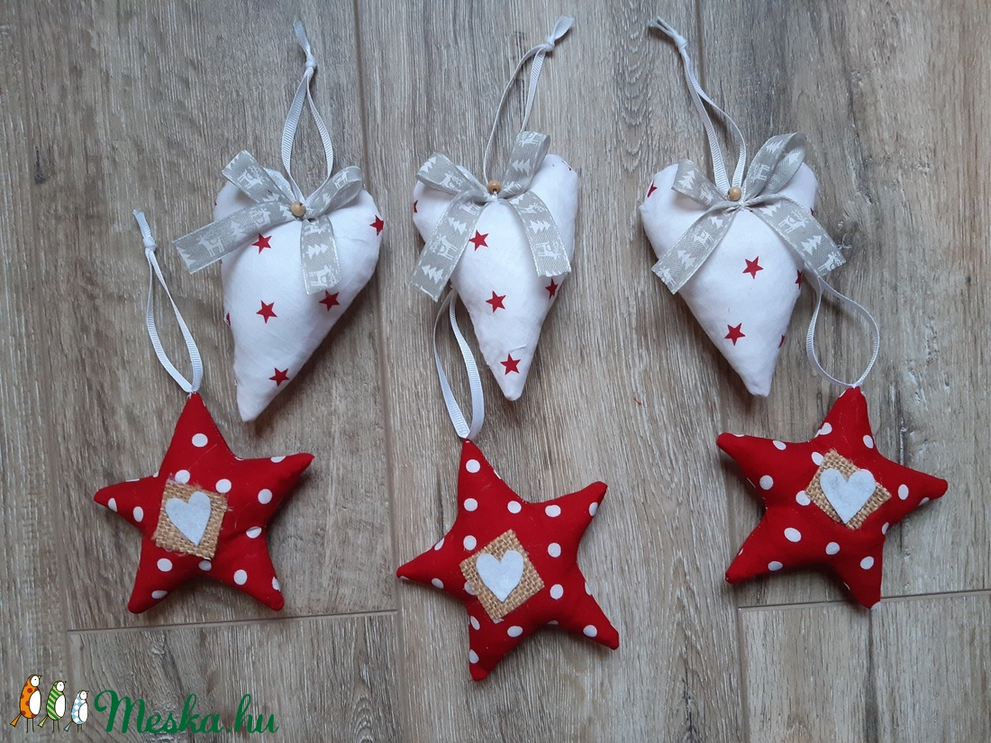 Szívek és Csillagok- karácsonyi díszek-1 csomag (garievi) - Meska.hu