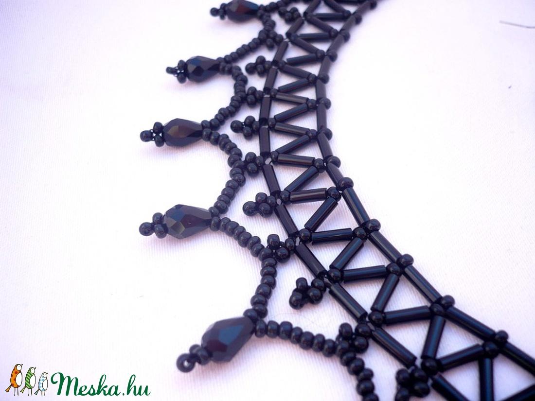 Fekete kristály nyaklánc  és fülbevaló - ékszer - ékszerszett - Meska.hu