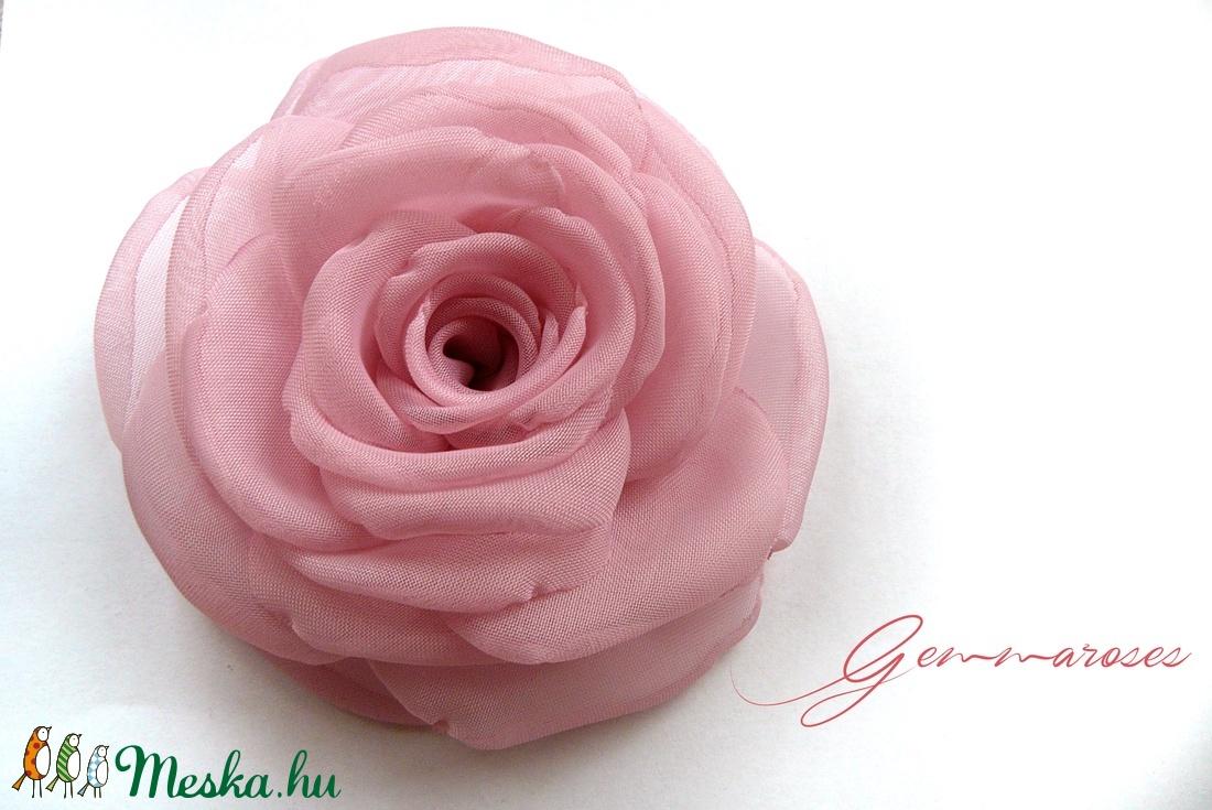 Rózsaszín  rózsa - kitűző/hajcsat (gemma) - Meska.hu