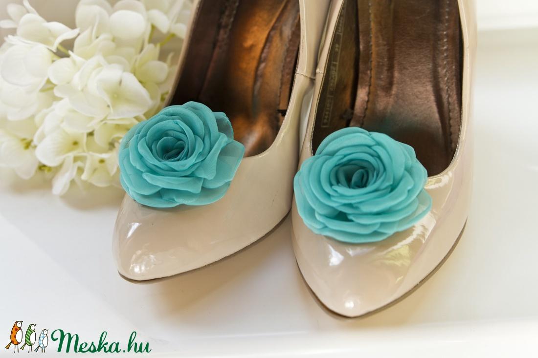 Türkiz cipőklipsz  (gemma) - Meska.hu