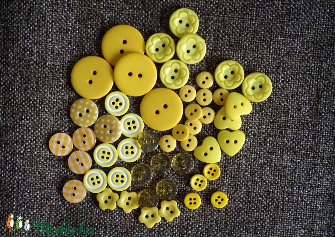 Gyönyörű sárga színű gomb válogatás 50 db - Meska.hu