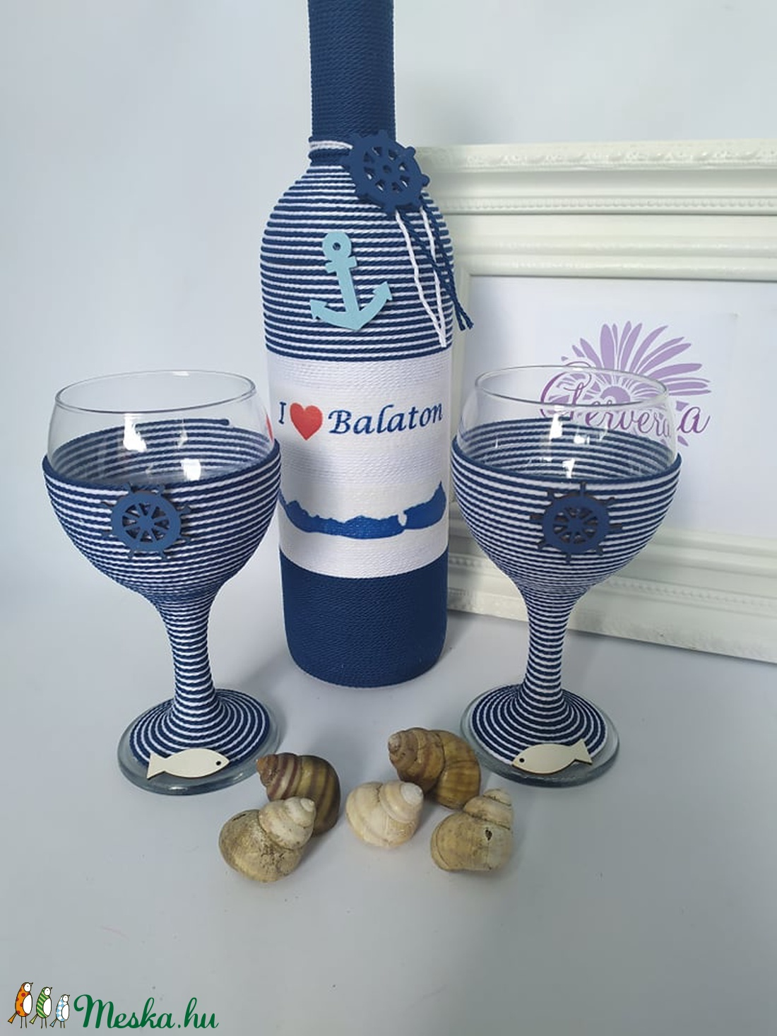 I love Balaton borosüveg+pohár (gervera) - Meska.hu