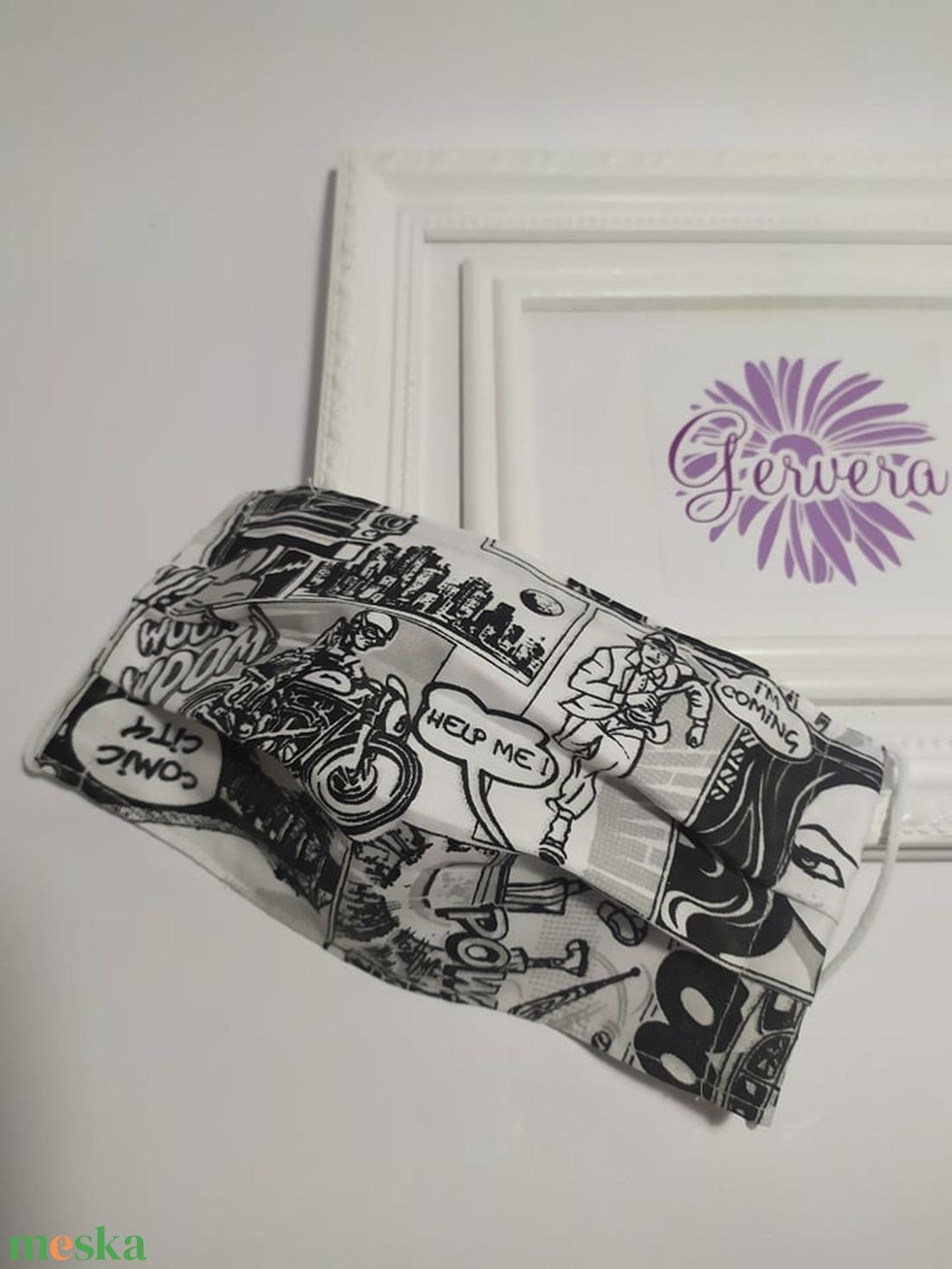 Textil maszk, kétrétegű, képregényes,fekete-fehér (gervera) - Meska.hu