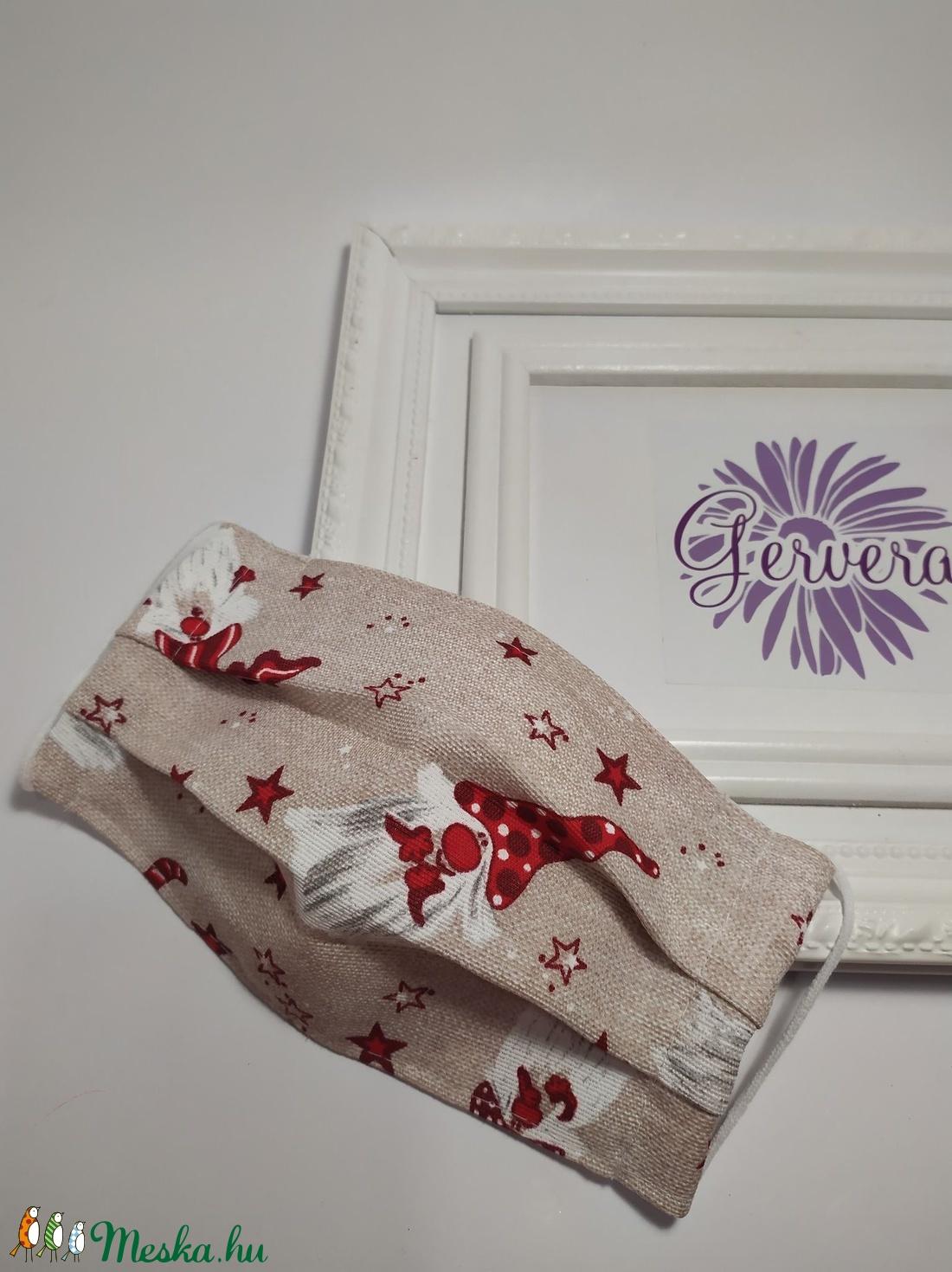 Textil maszk, kétrétegű, karácsonyi manó (gervera) - Meska.hu