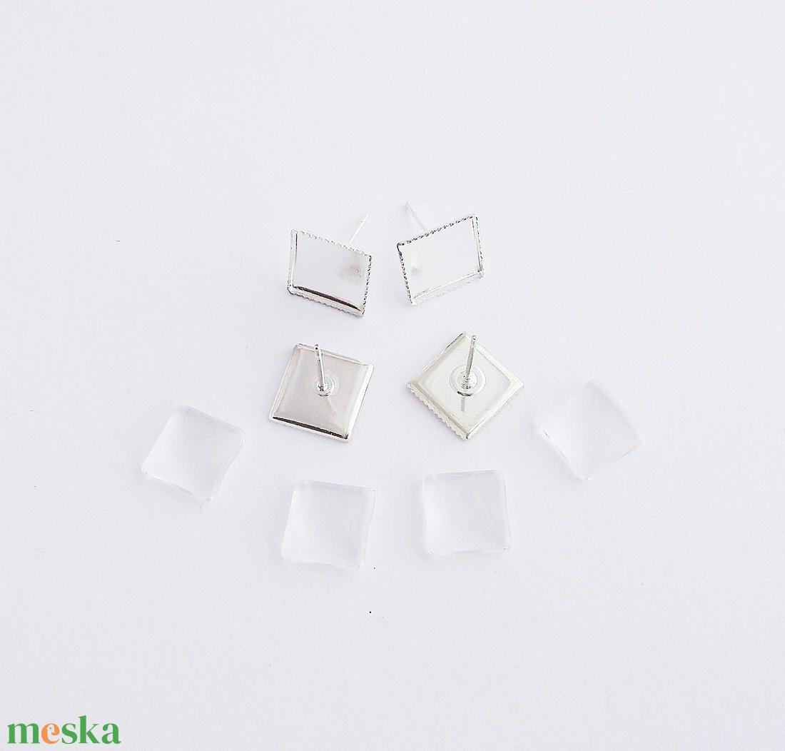 Fülbevaló alap + üveglencse - Négyzetes - Ezüst színű - 2 pár - Meska.hu