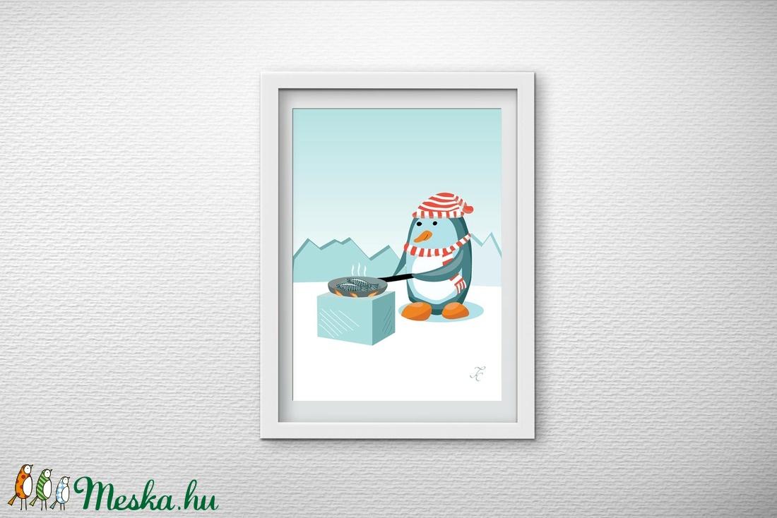 Gyerekszobai dekoráció - A pingvin sütöget (GraFont) - Meska.hu
