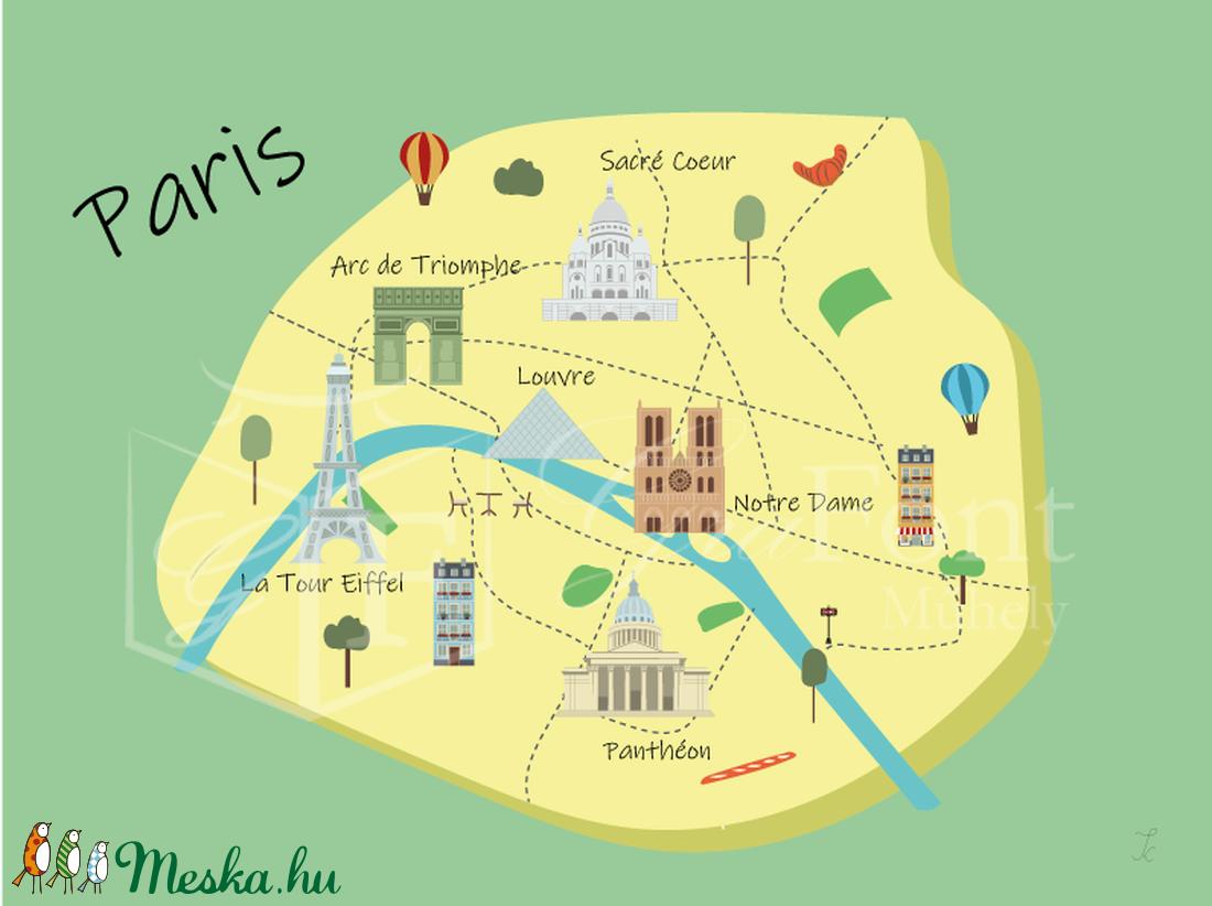 Párizs térkép híres épületekkel (GraFont) - Meska.hu