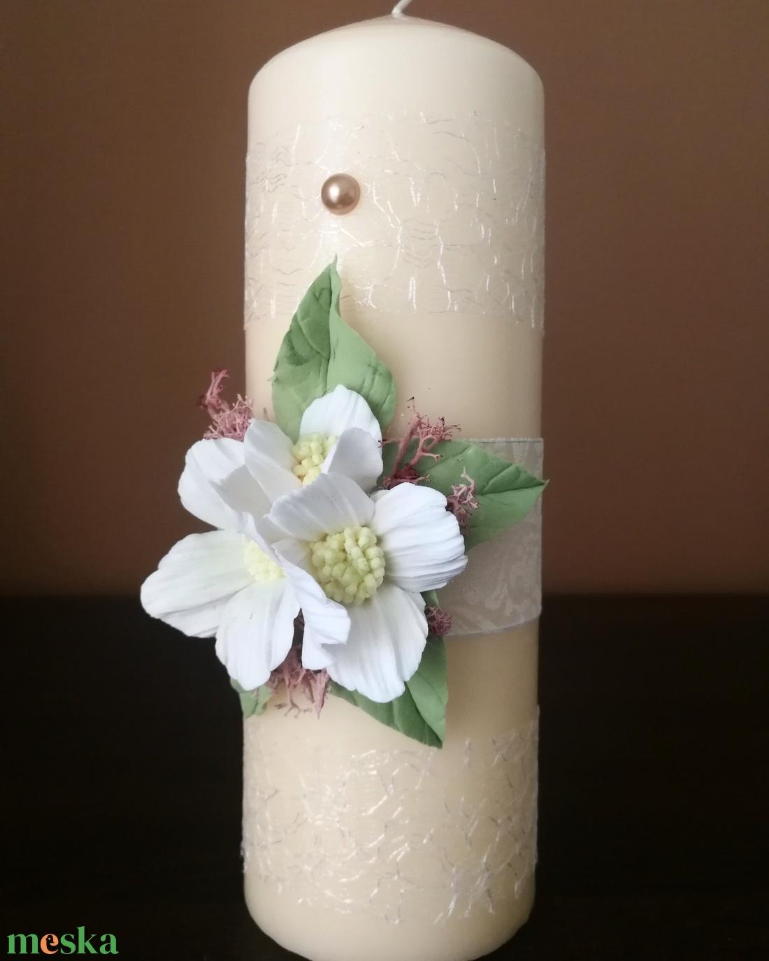 Krém színű kézműves dekor- gyertya , esküvői Ceremóniához ! - esküvő - dekoráció - gyertya & gyertyatartó - Meska.hu
