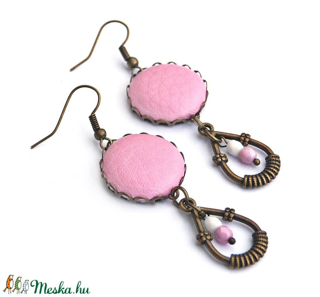Rózsaszín tavasz - textilbőr fülbevaló  (Gubancbolt) - Meska.hu