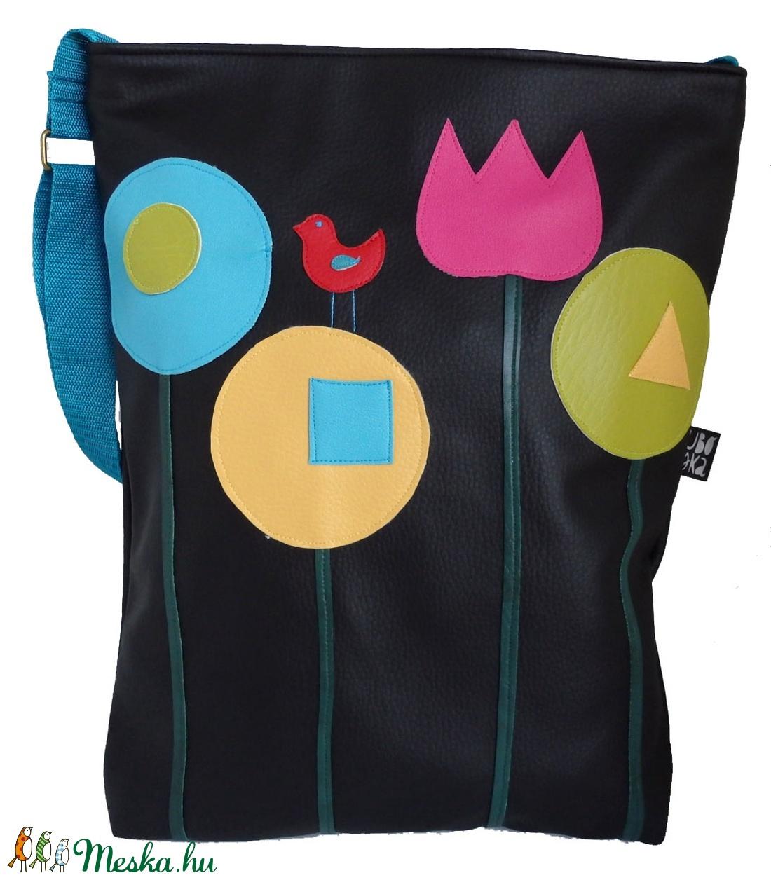 Mese virágos táska (fekete) (gubolyka) - Meska.hu