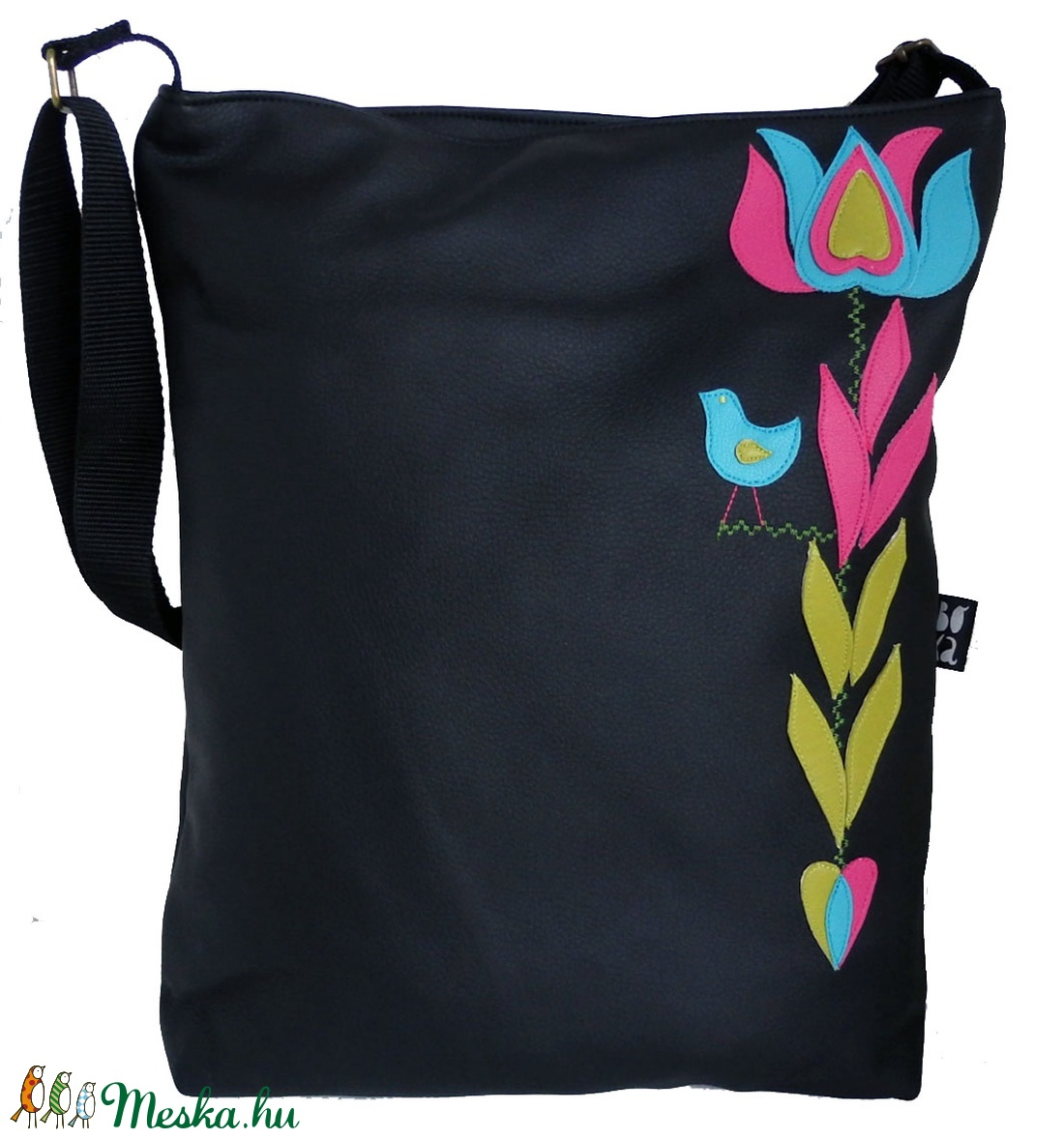 Somogyi virágos táska (fekete) (gubolyka) - Meska.hu