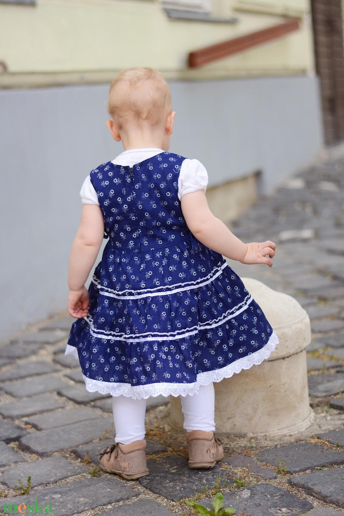 deae89df49 ... Kékfestő 62-104-es lány ruha madeira csipke díszítéssel (gyetomi) -  Meska ...