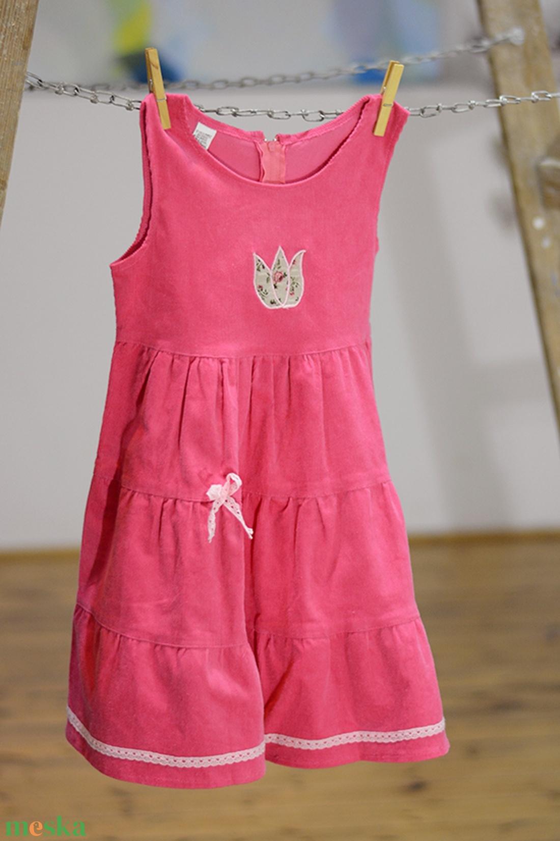 d89dc4bb6d Kord ruha, 110-152-es, világos rózsaszín, hímzéssel, pamut csipkével  (gyetomi) - Meska.hu