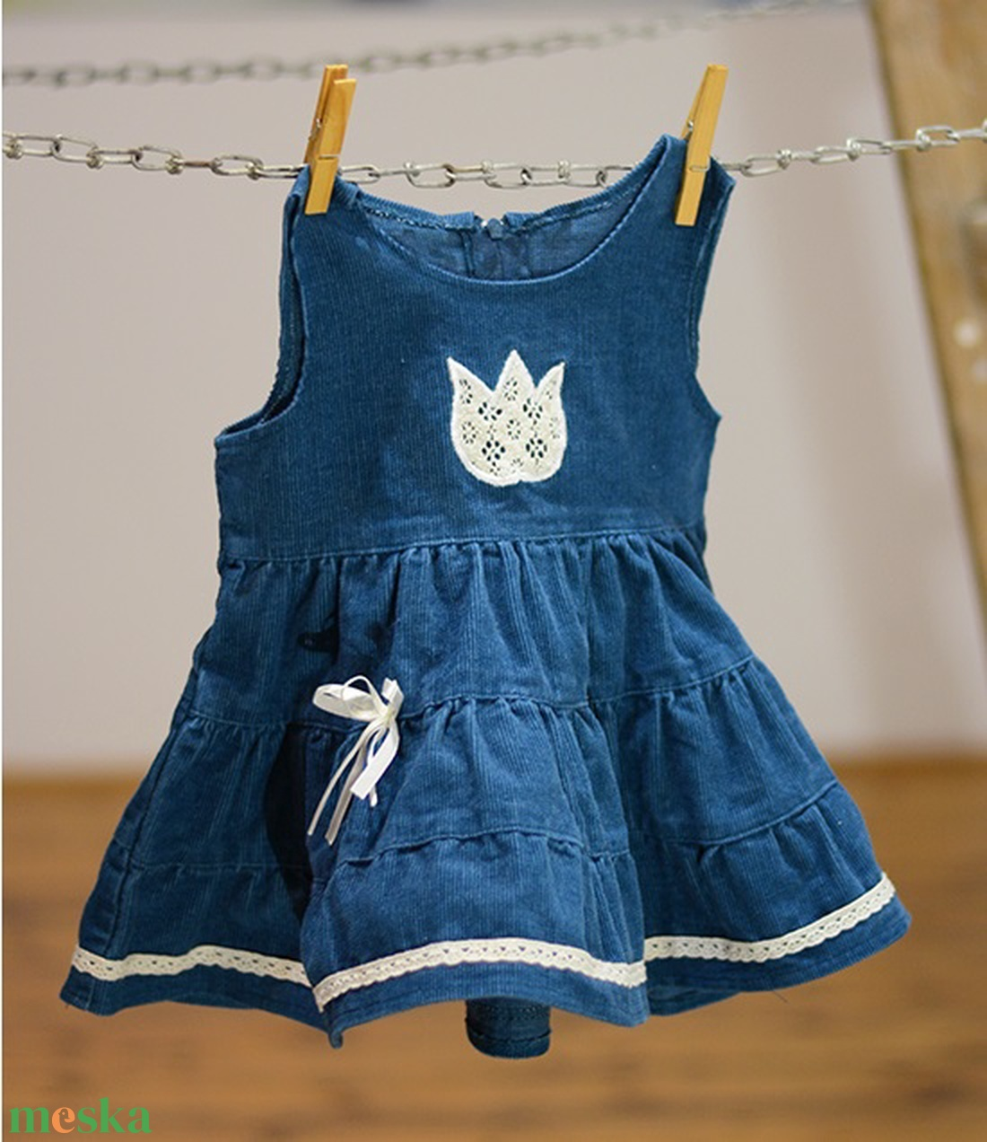 687656b4e0 Kord ruha 110-152-es, sötét türkiz kék, hímzéssel, pamut csipkével  (gyetomi) - Meska.hu
