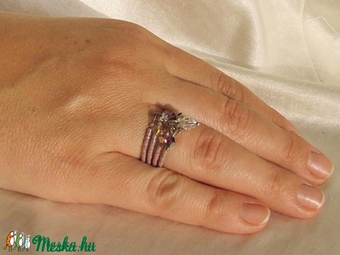 Lila csillogás gyűrű - ékszer - gyűrű - többköves gyűrű - Meska.hu