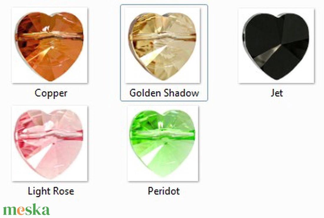 Swarovski szív keresztben fúrt 10mm-es több színben  - gyöngy, ékszerkellék - swarovski kristályok - Meska.hu