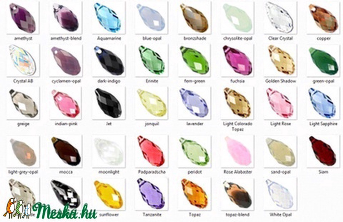 Swarovski kristály medál: briolett csepp (6010) 11mm-es több színben SW6010-11 - gyöngy, ékszerkellék - swarovski kristályok - Meska.hu