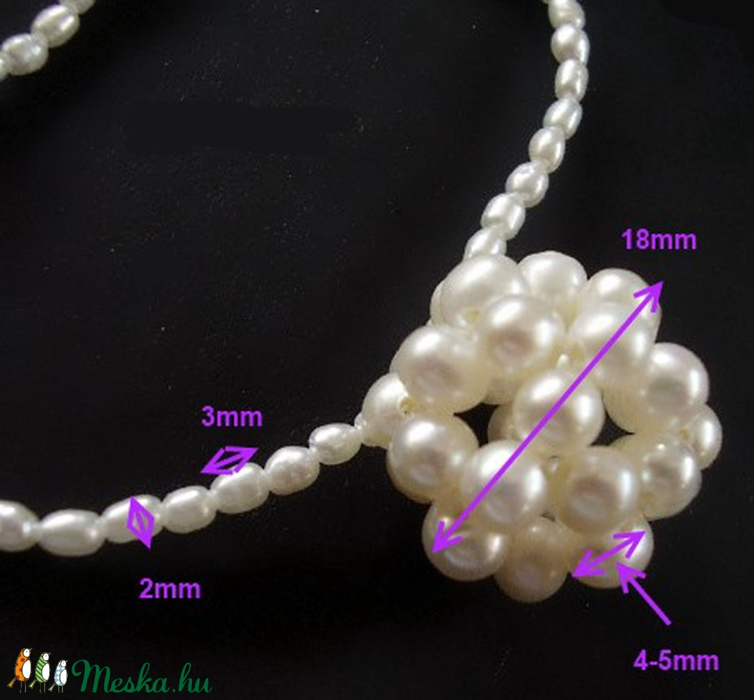 Egyedí, igazgyöngy gömb fülbevaló SLEB-IG04-1  - ékszer - nyaklánc - medál - Meska.hu