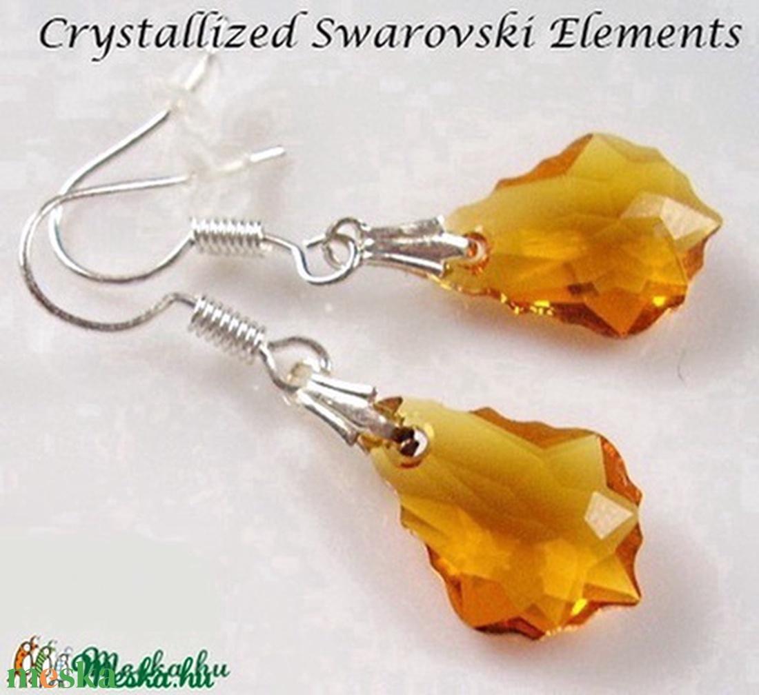 Swarovski kristály fülbevaló -16mm-es barokk  több színben  - ékszer - fülbevaló - lógó csepp fülbevaló - Meska.hu
