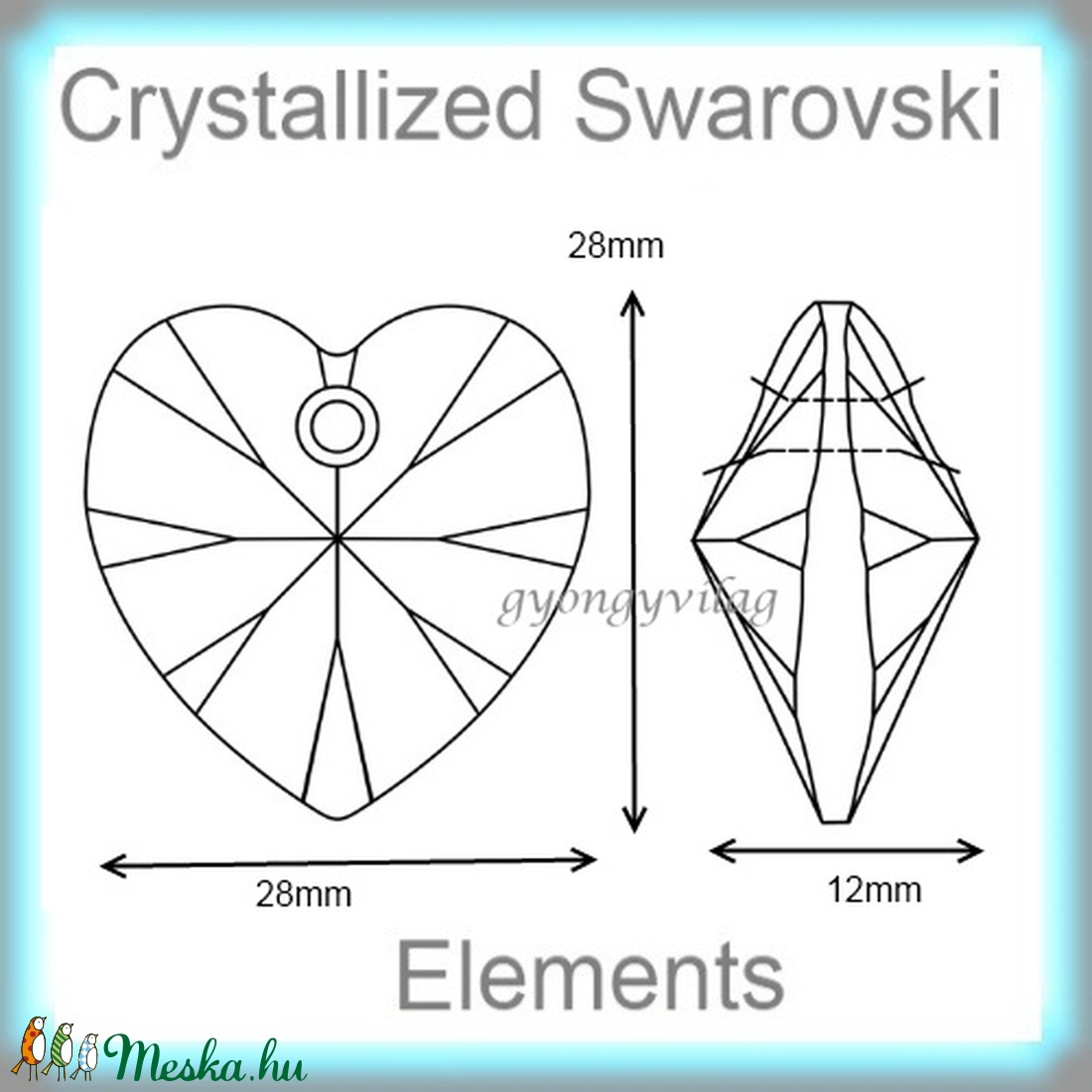 Swarovski szív medál  több színben 28mm  - gyöngy, ékszerkellék - swarovski kristályok - Meska.hu
