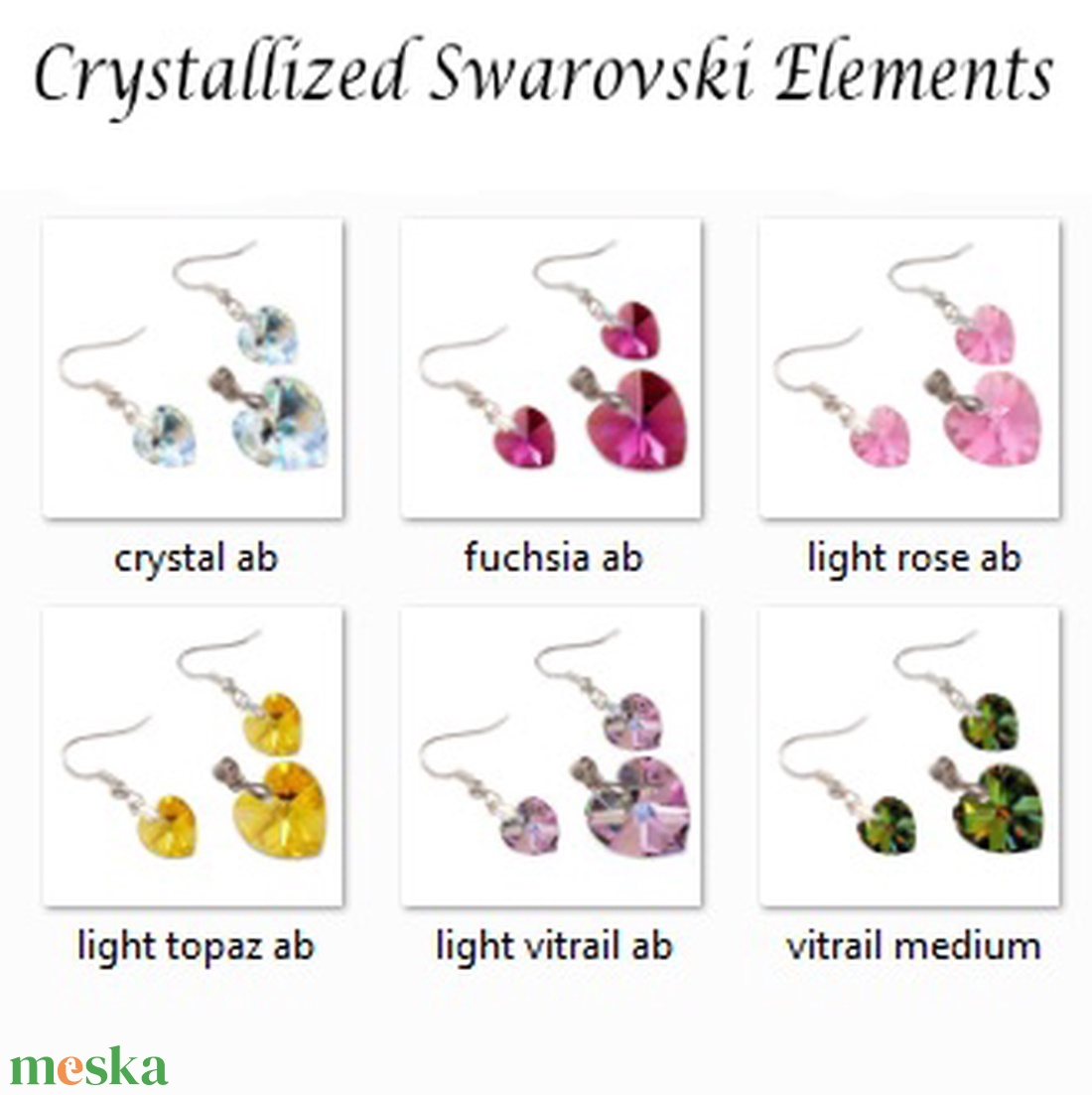 Swarovski kristály 10-18mm-es  AB bevonatos szív szett  - ékszer - ékszerszett - Meska.hu