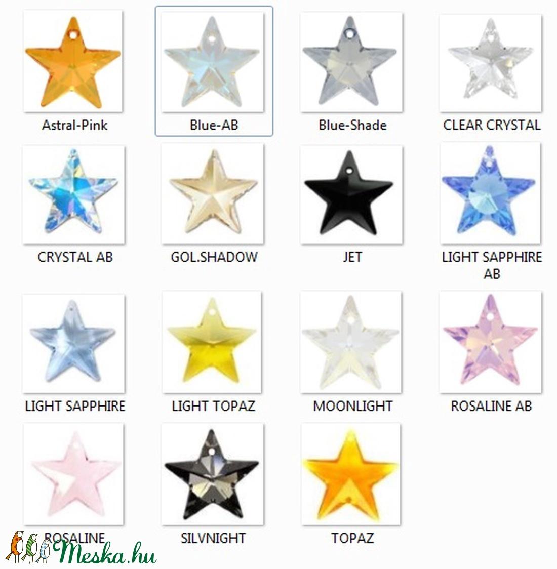 Ezüst-Swarovski kristály nyaklánc -20mm-es csillag több színben - ékszer - nyaklánc - medálos nyaklánc - Meska.hu