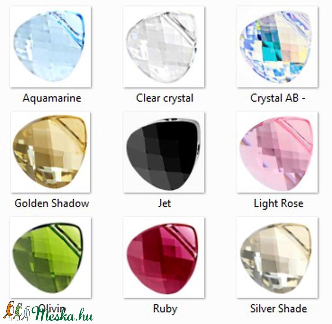 Swarovski kristály medál: briolett szív 15,5mm keresztben fúrt több szín SW6012-15,5 - gyöngy, ékszerkellék - swarovski kristályok - Meska.hu