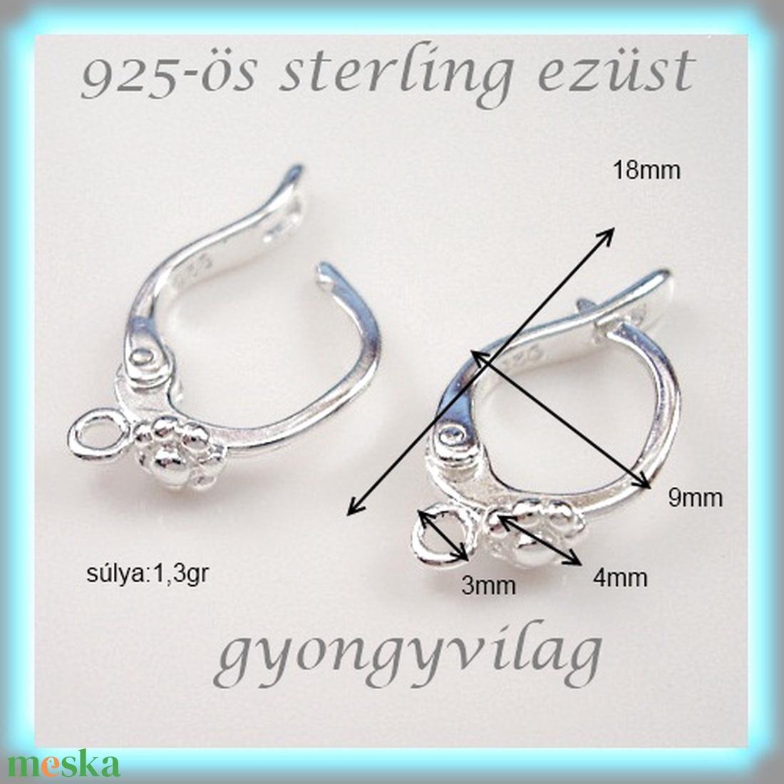 925-ös ezüst fülbevaló kapocs biztonsági kapoccsal EFK K 10 - gyöngy, ékszerkellék - egyéb alkatrész - Meska.hu