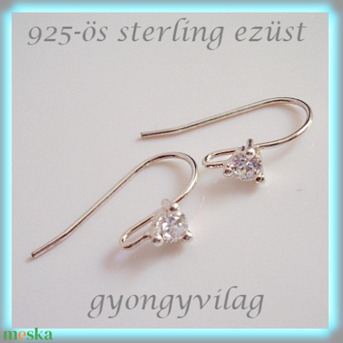 925-ös finomságú sterling  ezüst fülbevaló kapocs EFK A 25 - gyöngy, ékszerkellék - egyéb alkatrész - Meska.hu