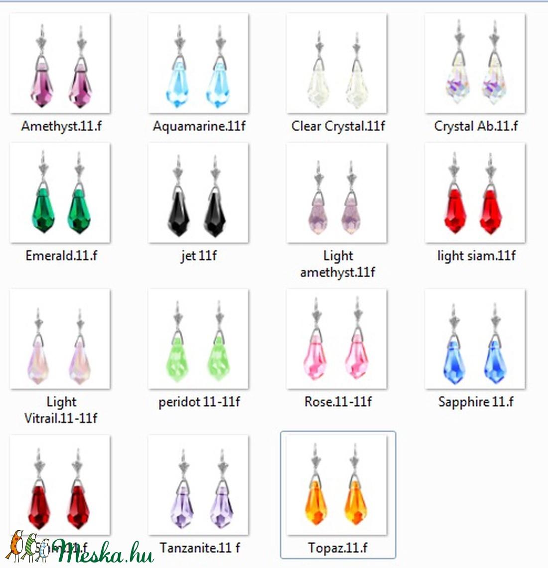 Swarovski kristály fülbevaló -11mm-es csepp  több színben  - ékszer - fülbevaló - lógó fülbevaló - Meska.hu