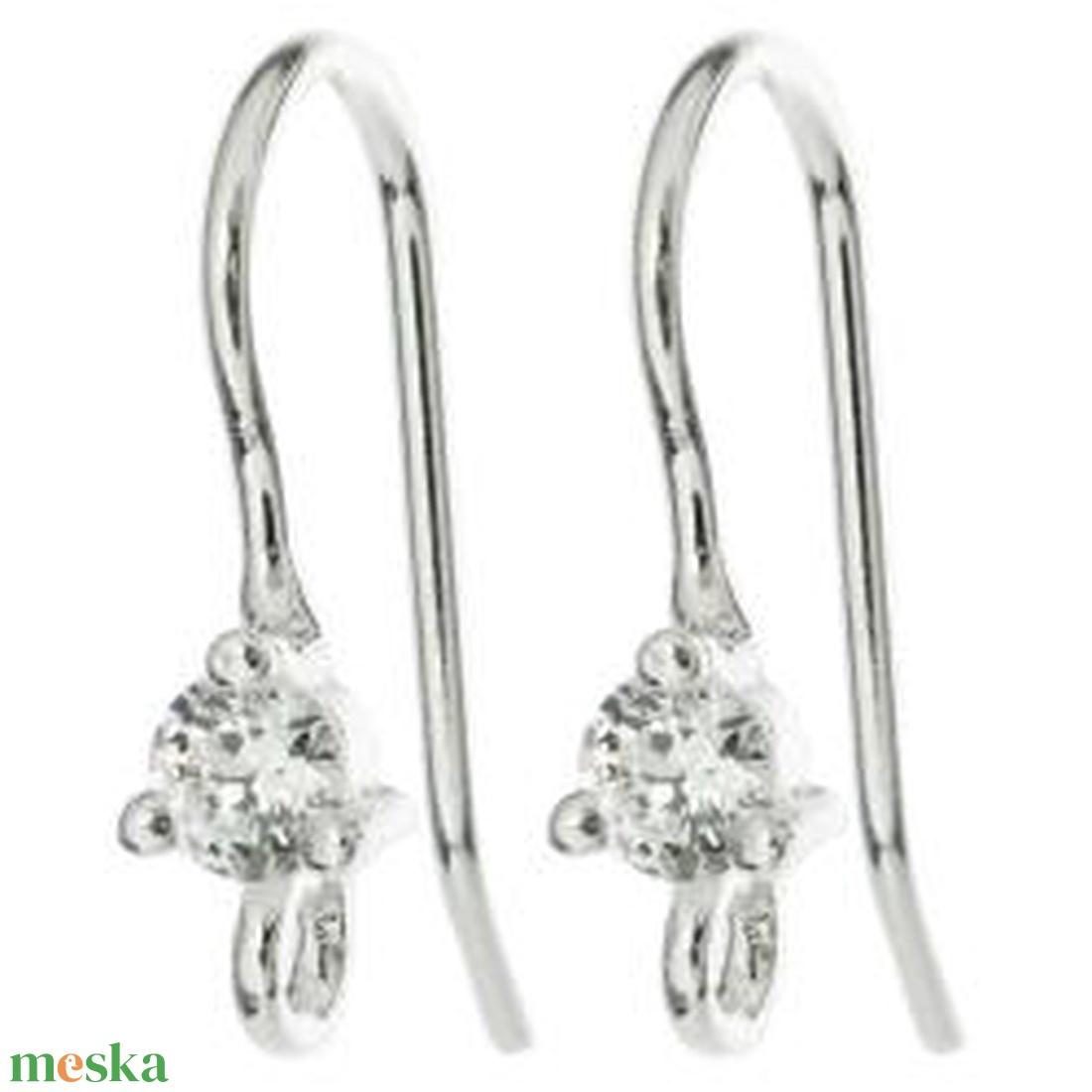 925-ös finomságú sterling  ezüst fülbevaló kapocs EFK A 02 clear - gyöngy, ékszerkellék - egyéb alkatrész - Meska.hu