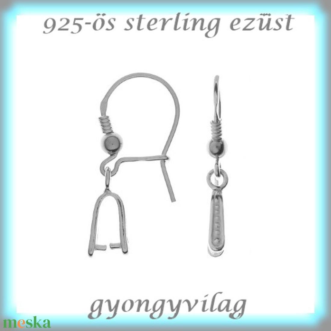 925-ös ezüst fülbevaló kapocs biztonsági kapoccsal EFK K 29 - gyöngy, ékszerkellék - egyéb alkatrész - Meska.hu