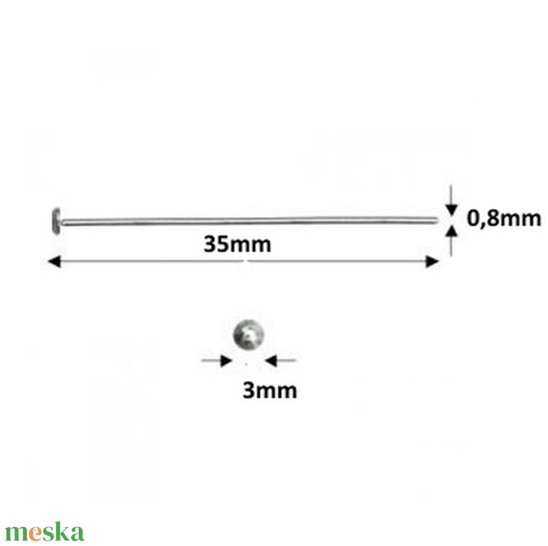 925-ös sterling ezüst ékszerkellék: szerelőpálca szög végű 35  x 0,8mm-es  - gyöngy, ékszerkellék - egyéb alkatrész - Meska.hu