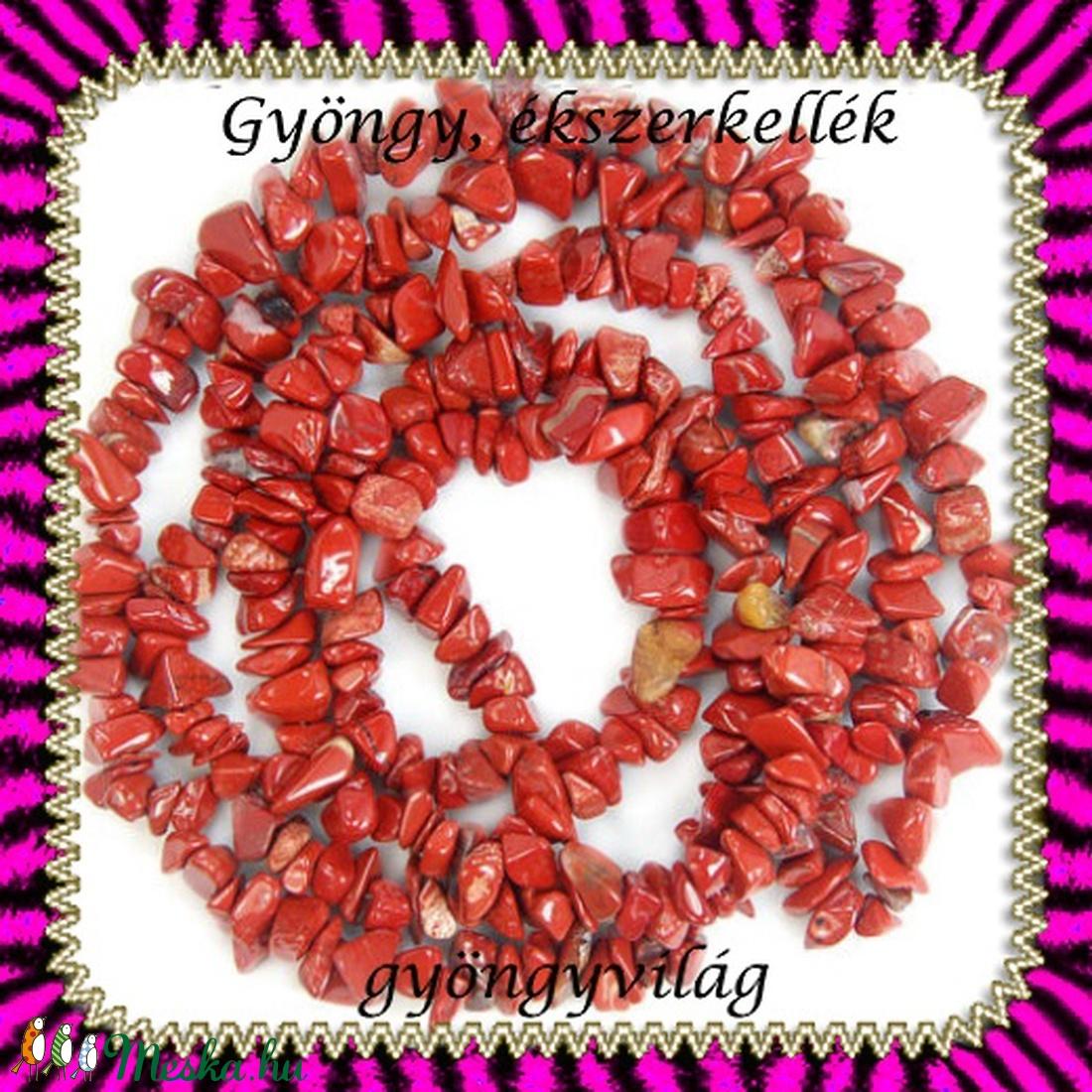 ásvány chips fűzér 6-10 mm-es  red jasper - gyöngy, ékszerkellék - egyéb alkatrész - Meska.hu