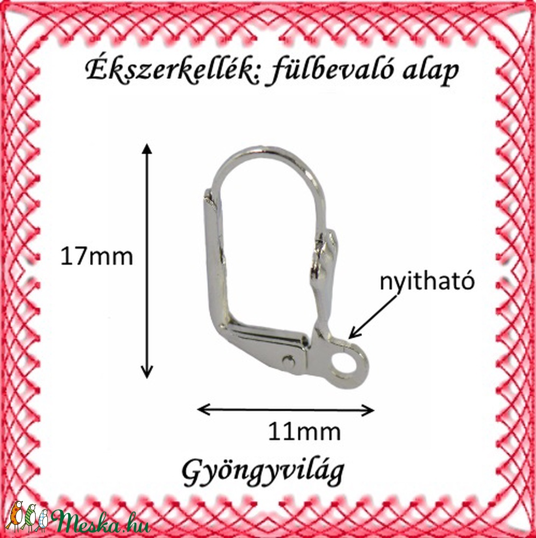 Biztonsági kapccsosródiumozott  fülbevaló alap 5 pár BFK-K01 R - gyöngy, ékszerkellék - egyéb alkatrész - Meska.hu