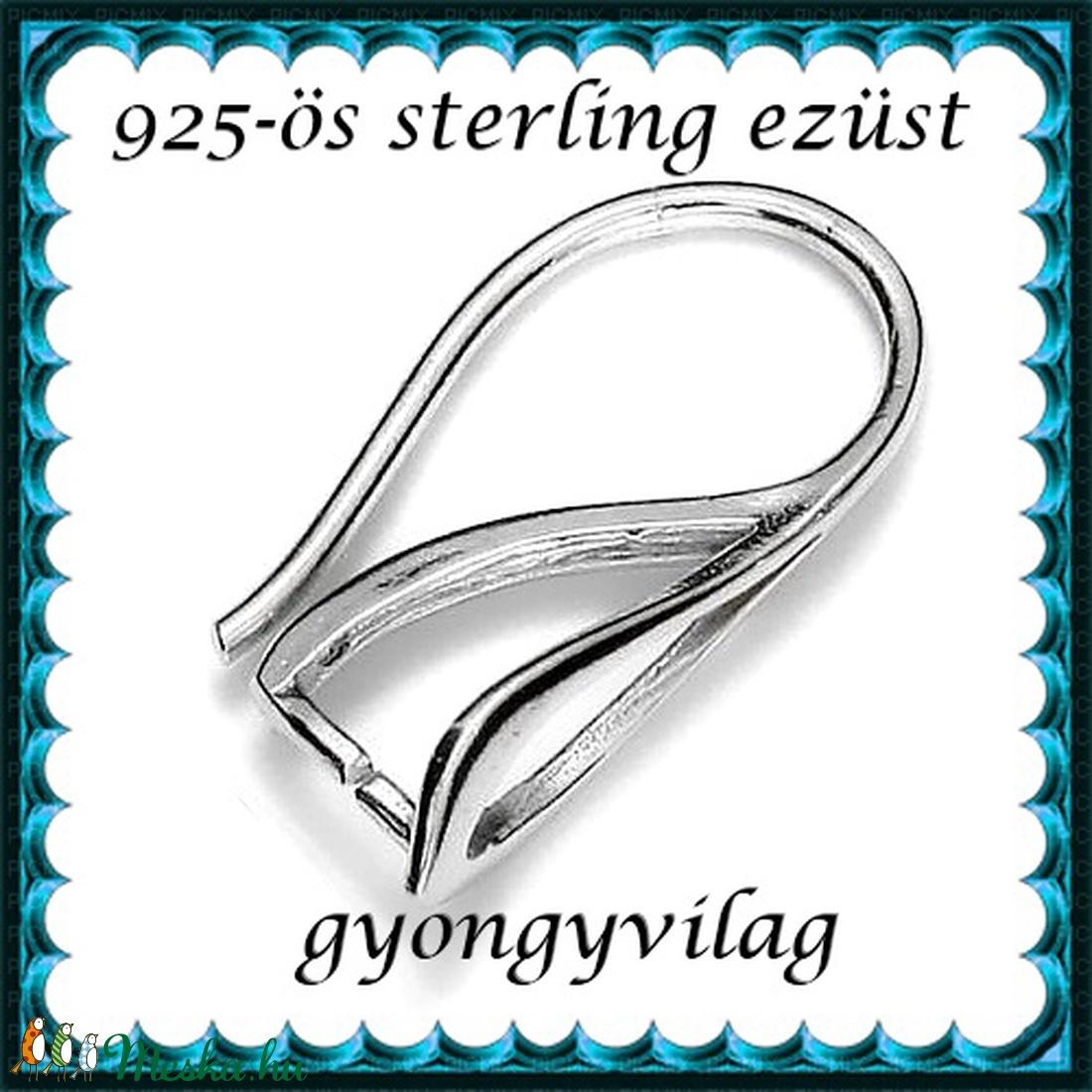 925-ös sterling ezüst ékszerkellék: fülbevalóalap akasztós EFK A 64 - gyöngy, ékszerkellék - egyéb alkatrész - Meska.hu