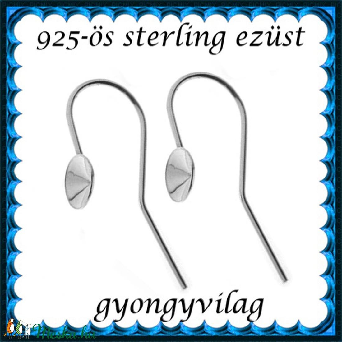 925-ös sterling ezüst ékszerkellék: fülbevalóalap akasztós EFK A 59-5 - gyöngy, ékszerkellék - egyéb alkatrész - Meska.hu