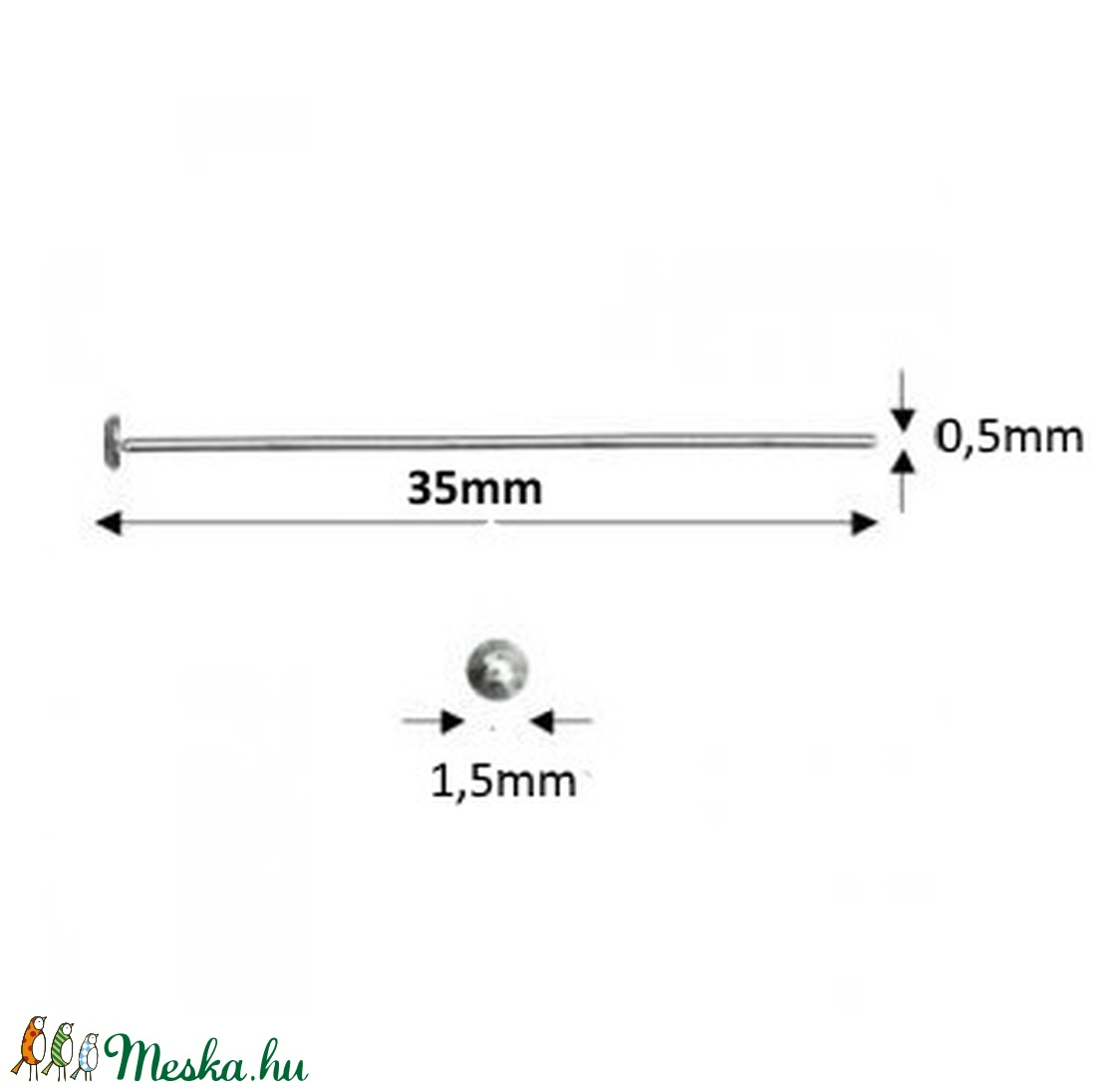 925-ös sterling ezüst ékszerkellék: szerelőpálca szög végű 35  x 0,5mm-es  - gyöngy, ékszerkellék - egyéb alkatrész - Meska.hu