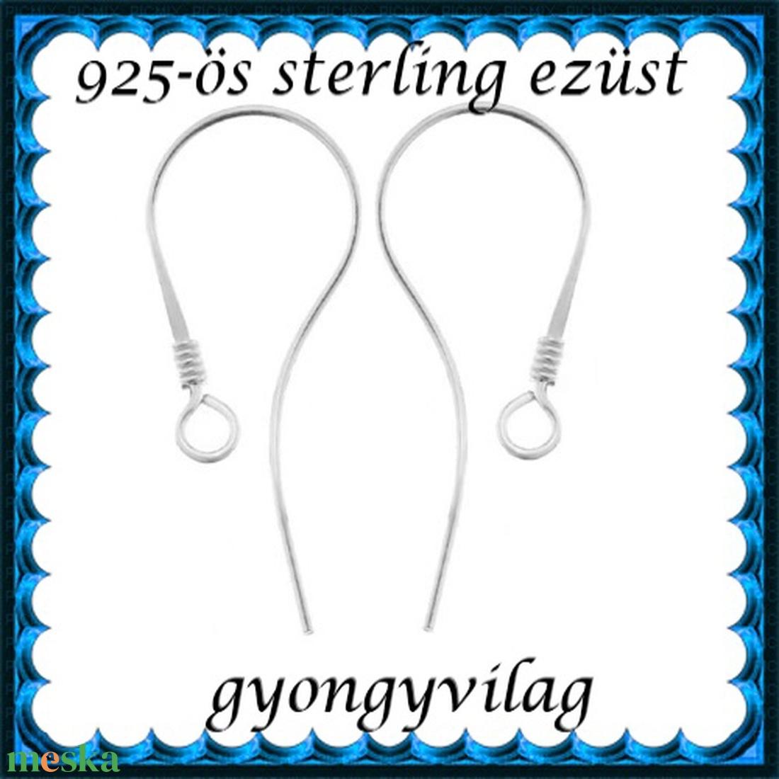925-ös sterling ezüst ékszerkellék: fülbevalóalap akasztós EFK A 72 - gyöngy, ékszerkellék - egyéb alkatrész - Meska.hu