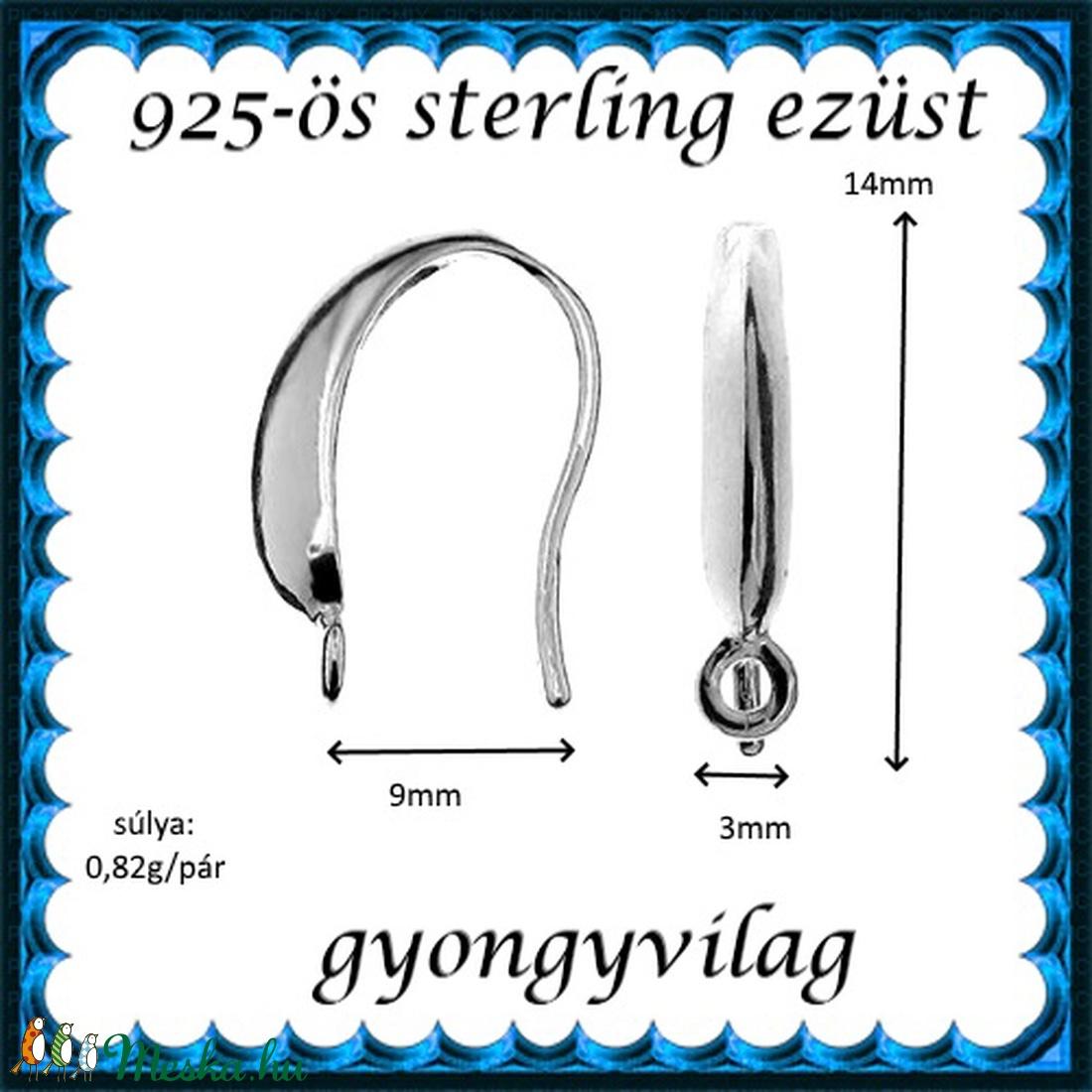 925-ös sterling ezüst ékszerkellék: fülbevalóalap akasztós EFK A 73-1 - gyöngy, ékszerkellék - egyéb alkatrész - Meska.hu