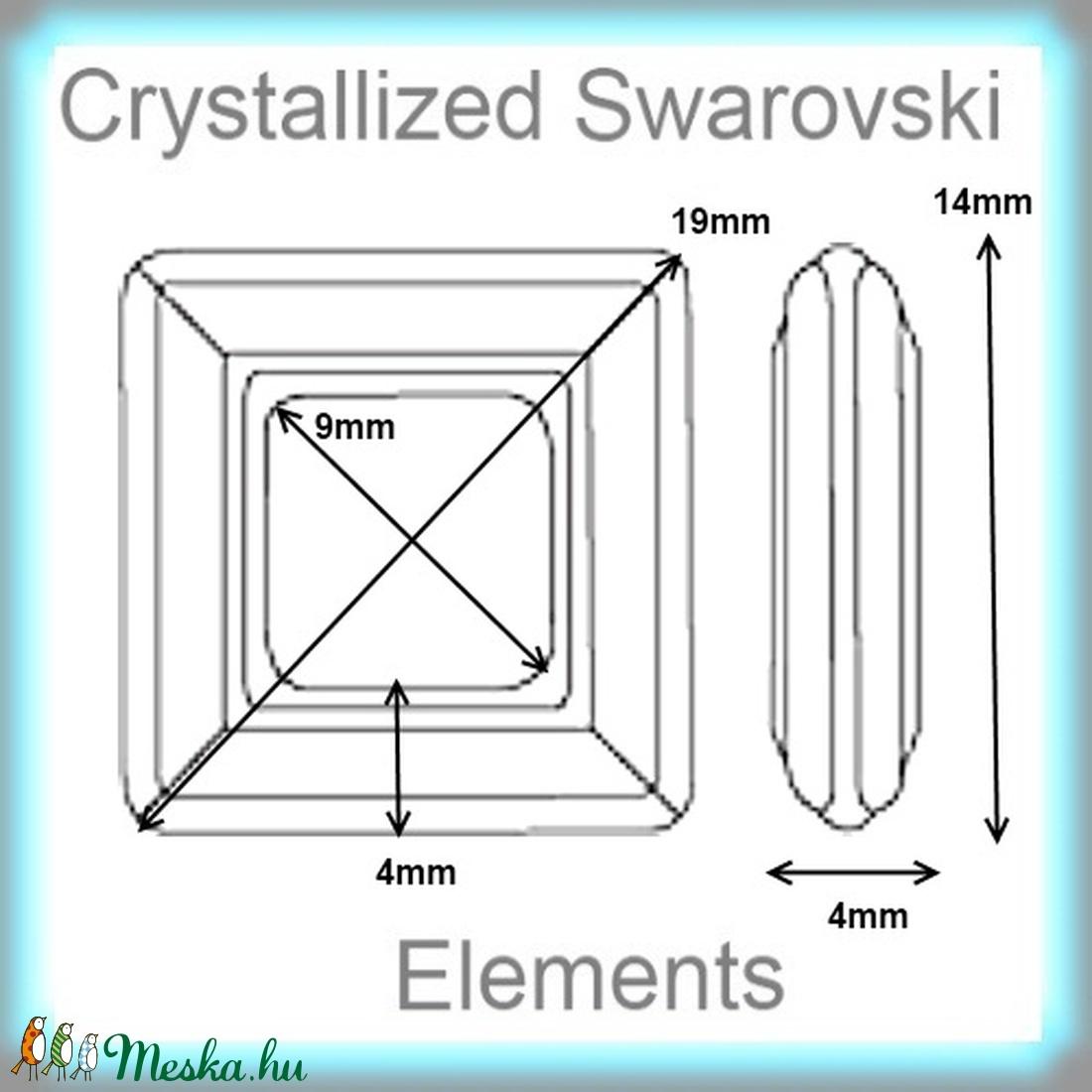Ékszerkellék:  Swarovski négyzet 14mm  több színben  SW4439-14 - gyöngy, ékszerkellék - swarovski kristályok - Meska.hu