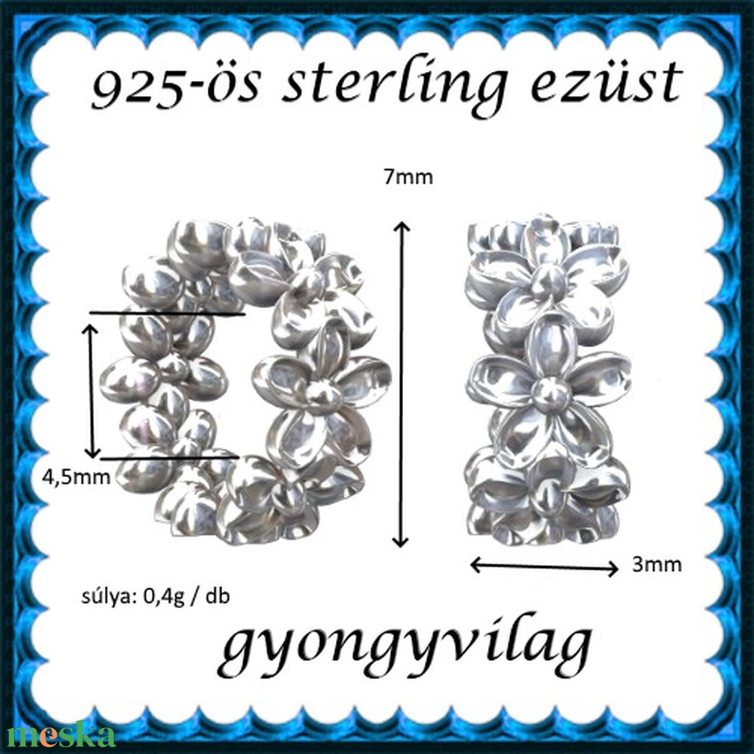 925-ös sterling ezüst ékszerkellék: köztes / gyöngy / dísz EKÖ 66e - gyöngy, ékszerkellék - egyéb alkatrész - Meska.hu