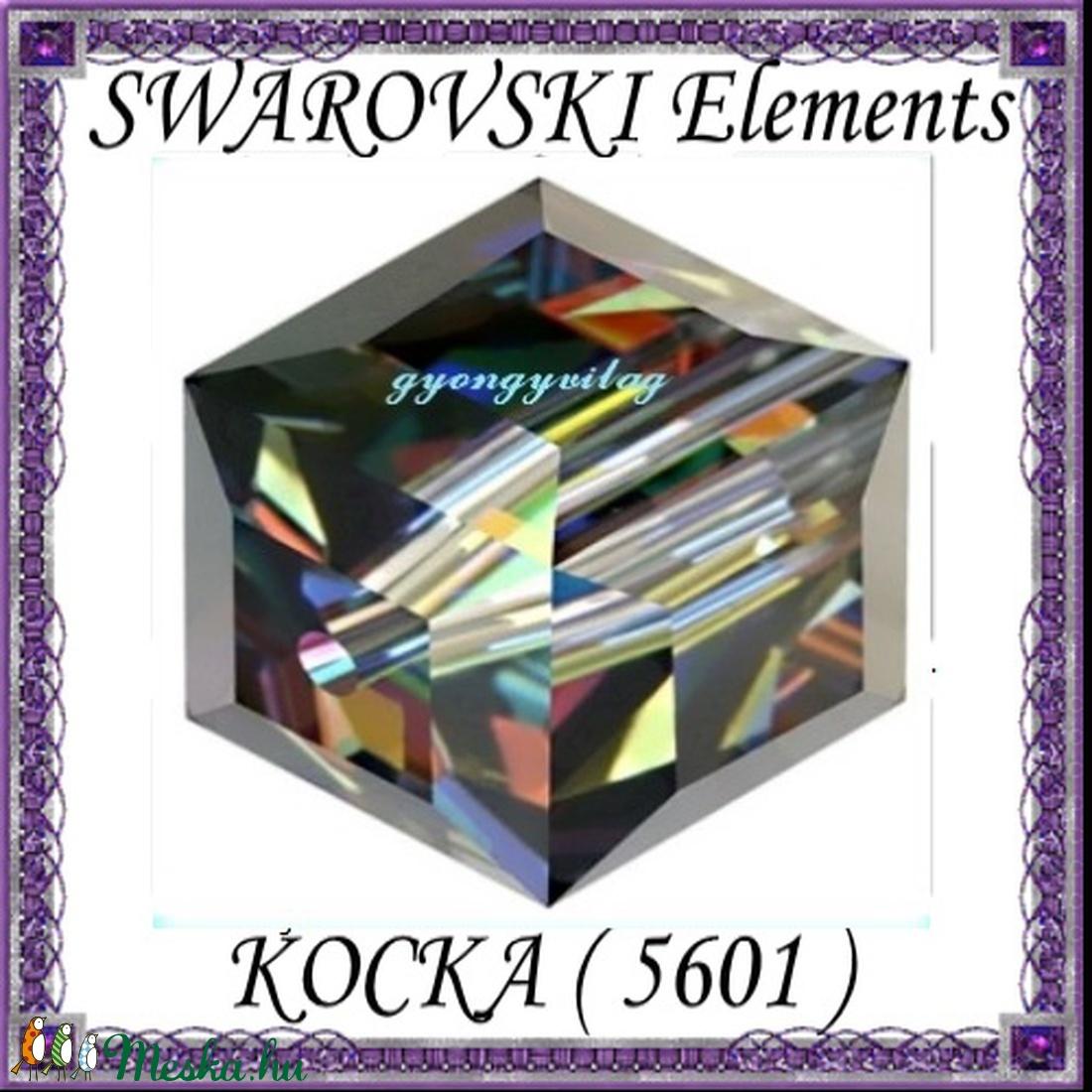 Ékszerkellék: Swarovski kocka 8mm-es AB bevonatos  több színben - gyöngy, ékszerkellék - swarovski kristályok - Meska.hu